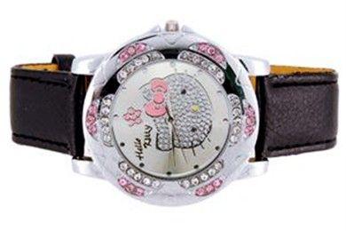 Ladies Watch HELLO KITTY CRYSTAL Black Leather Wristband Quartz USA