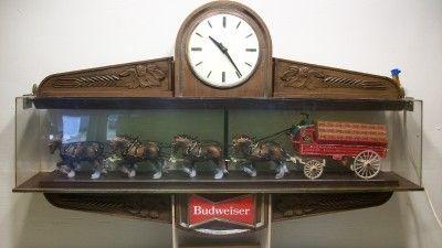 Vintage Budweiser Beer Clydesdale Horses Big Bar Sign Clock Bar Light