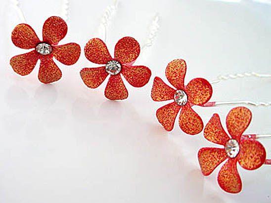 Sparking Red Bridal Flower Crystal Hair Pin ~Set of 4 ~