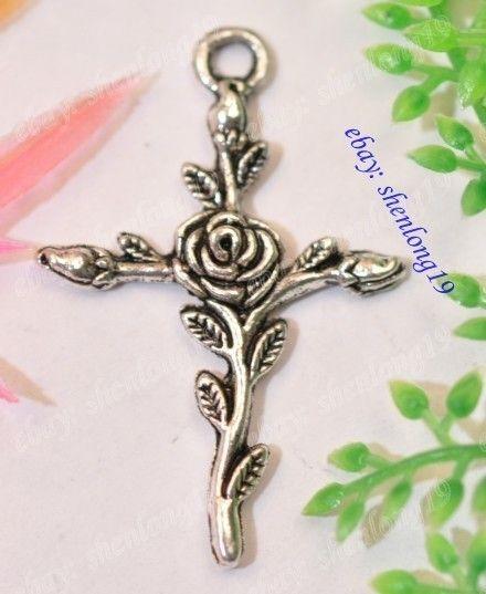 35pcs Tibetan Silver Rose Cross Charms Pendants SH45
