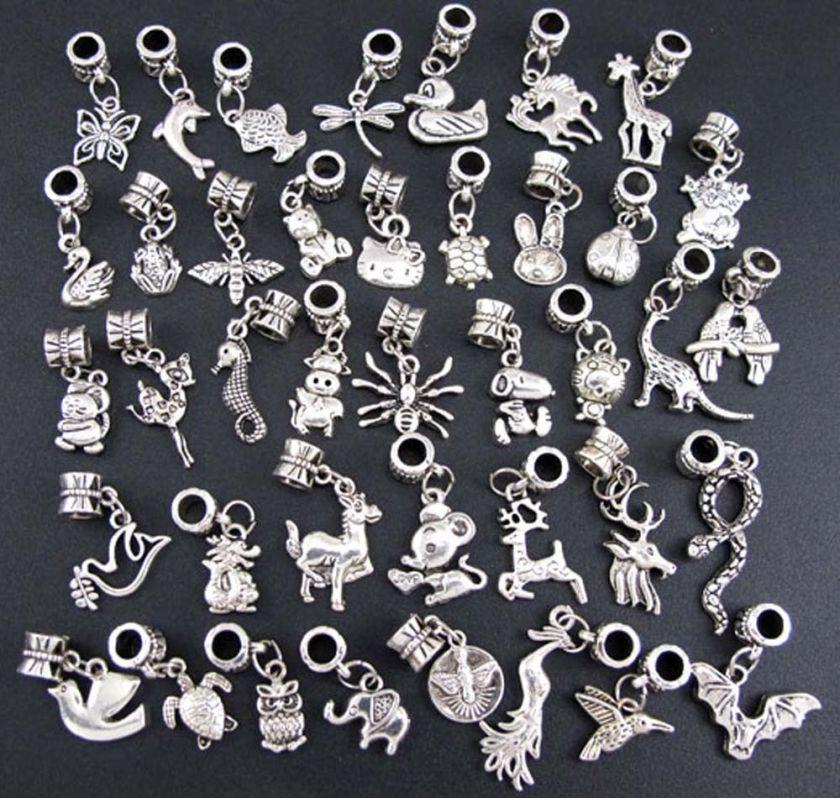 Wholesale 40p Mix Tibetan Silver Animal Dangle Beads Fit Charm