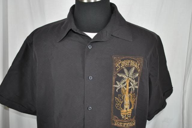 hawaiian bahama cigar cuban black mens casual tiki shirt XXL EUC