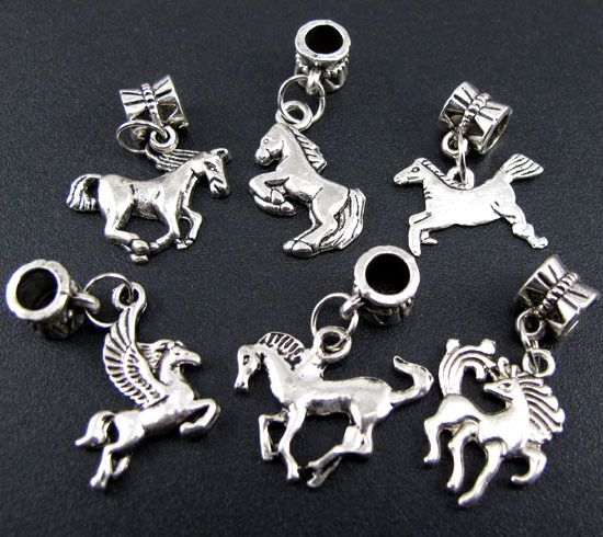 Wholesale 100p Mix Tibetan Silver Horse Dangle Beads Fit Charm