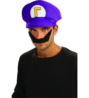 Super Mario Bros. Waluigi Hat & Moustache Kit *New*